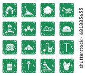 miner icons set in grunge style ... | Shutterstock .eps vector #681885655