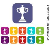 championship cup icons set... | Shutterstock .eps vector #681886015