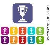 winning cup icons set vector... | Shutterstock .eps vector #681886051