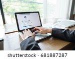 laptop business man working by... | Shutterstock . vector #681887287