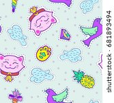 cute seamless pattern with pink ... | Shutterstock .eps vector #681893494
