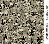 fun skeletons. seamless... | Shutterstock .eps vector #681899404