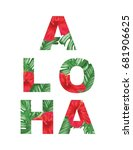 aloha tropical poster design | Shutterstock .eps vector #681906625