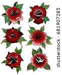 vector red rose set traditional ... | Shutterstock .eps vector #681907285