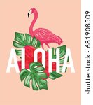 aloha poster with flamingo | Shutterstock .eps vector #681908509