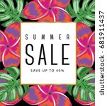 tropical summer sale template | Shutterstock .eps vector #681911437