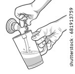 illustration of man pouring... | Shutterstock .eps vector #681913759