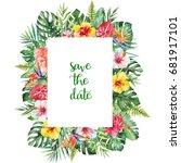 watercolor tropical floral... | Shutterstock . vector #681917101