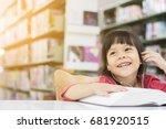 asian girls are reading books... | Shutterstock . vector #681920515