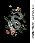 dragon flowers tattoo patch... | Shutterstock .eps vector #681922111