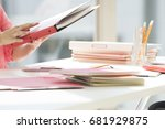 a business woman with material...   Shutterstock . vector #681929875