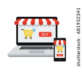 online shopping concept with... | Shutterstock .eps vector #681932341