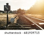 railroad switch with train in... | Shutterstock . vector #681939715
