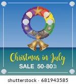 christmas in july sale... | Shutterstock .eps vector #681943585