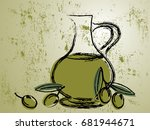 green background with olive oil ... | Shutterstock .eps vector #681944671