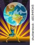 atlas the titan holding the sky ... | Shutterstock .eps vector #681949345