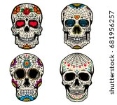 Set of the sugar skulls isolated on white background. Dia de los Muertos. Day of the Dead.