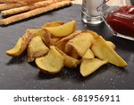 rustic fried potatoes with... | Shutterstock . vector #681956911