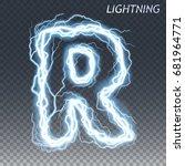 lightning and thunder bolt or...   Shutterstock .eps vector #681964771