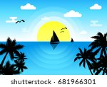 sunset in the sea with a... | Shutterstock .eps vector #681966301