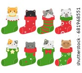 cats in christmas stockings | Shutterstock .eps vector #681968551