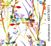 imprints herbarium grass... | Shutterstock . vector #681978571