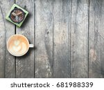 hot cappuccino and cactus in... | Shutterstock . vector #681988339