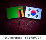 zambian flag with south korean...   Shutterstock . vector #681989737