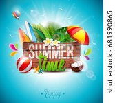 vector summer time holiday... | Shutterstock .eps vector #681990865