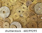 Chinese Coins In A Pile As...