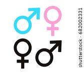 gender symbols. set of flat... | Shutterstock .eps vector #682002331