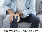 old man suffering from knee... | Shutterstock . vector #682005259