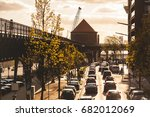 traffic in hamburg at sunset.... | Shutterstock . vector #682012069
