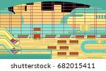 background of hall at airport. | Shutterstock .eps vector #682015411