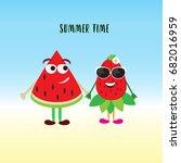 summer time. funny cartoon... | Shutterstock .eps vector #682016959