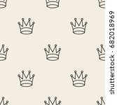 seamless monochrome crown... | Shutterstock .eps vector #682018969