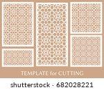 decorative panels set for laser ... | Shutterstock .eps vector #682028221