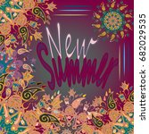 new summer   zentangle inspired ... | Shutterstock .eps vector #682029535