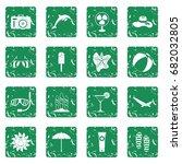 summer rest icons set in grunge ... | Shutterstock .eps vector #682032805