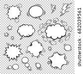 comic speech bubbles set with... | Shutterstock .eps vector #682039561