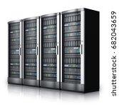 row of network servers in data... | Shutterstock . vector #682043659