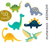 cute vector dinosaurs isolated... | Shutterstock .eps vector #682046245