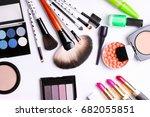make up brush  eye shadow ... | Shutterstock . vector #682055851