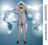 vector business man with beard... | Shutterstock .eps vector #682060591
