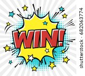 win  phrase in speech bubble.... | Shutterstock .eps vector #682063774