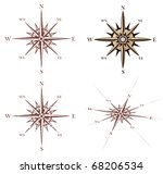 vintage compass rose set | Shutterstock .eps vector #68206534