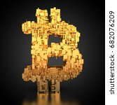 3d rendering  golden bitcoin... | Shutterstock . vector #682076209