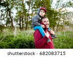father holding his little son... | Shutterstock . vector #682083715