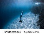 woman freediver glides over... | Shutterstock . vector #682089241