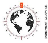 globe world map compass... | Shutterstock .eps vector #682091431